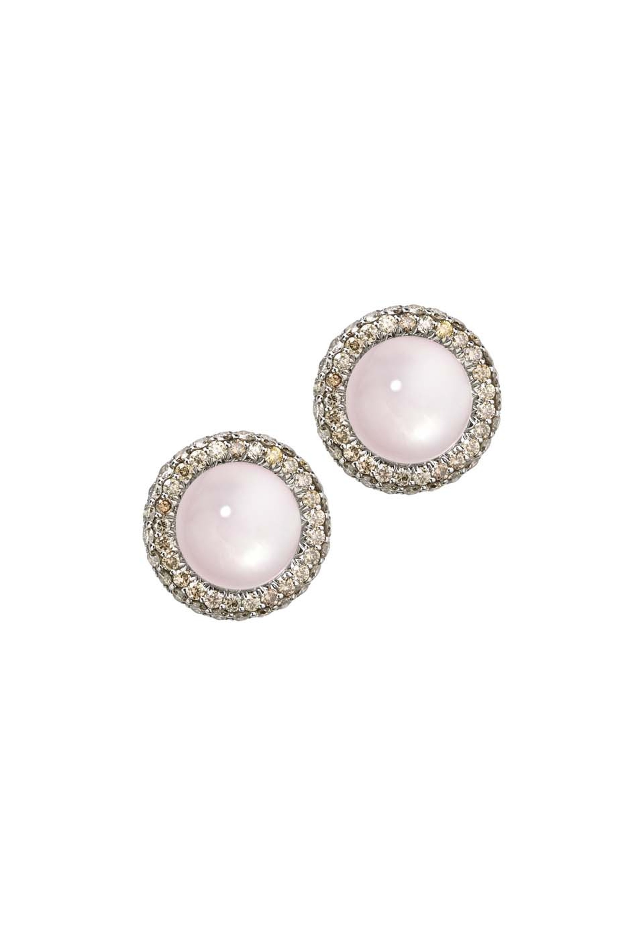 Elena Carrera earrings from the Celosías collection featuring yellow gold-plated silver with rose quartz and diamonds.