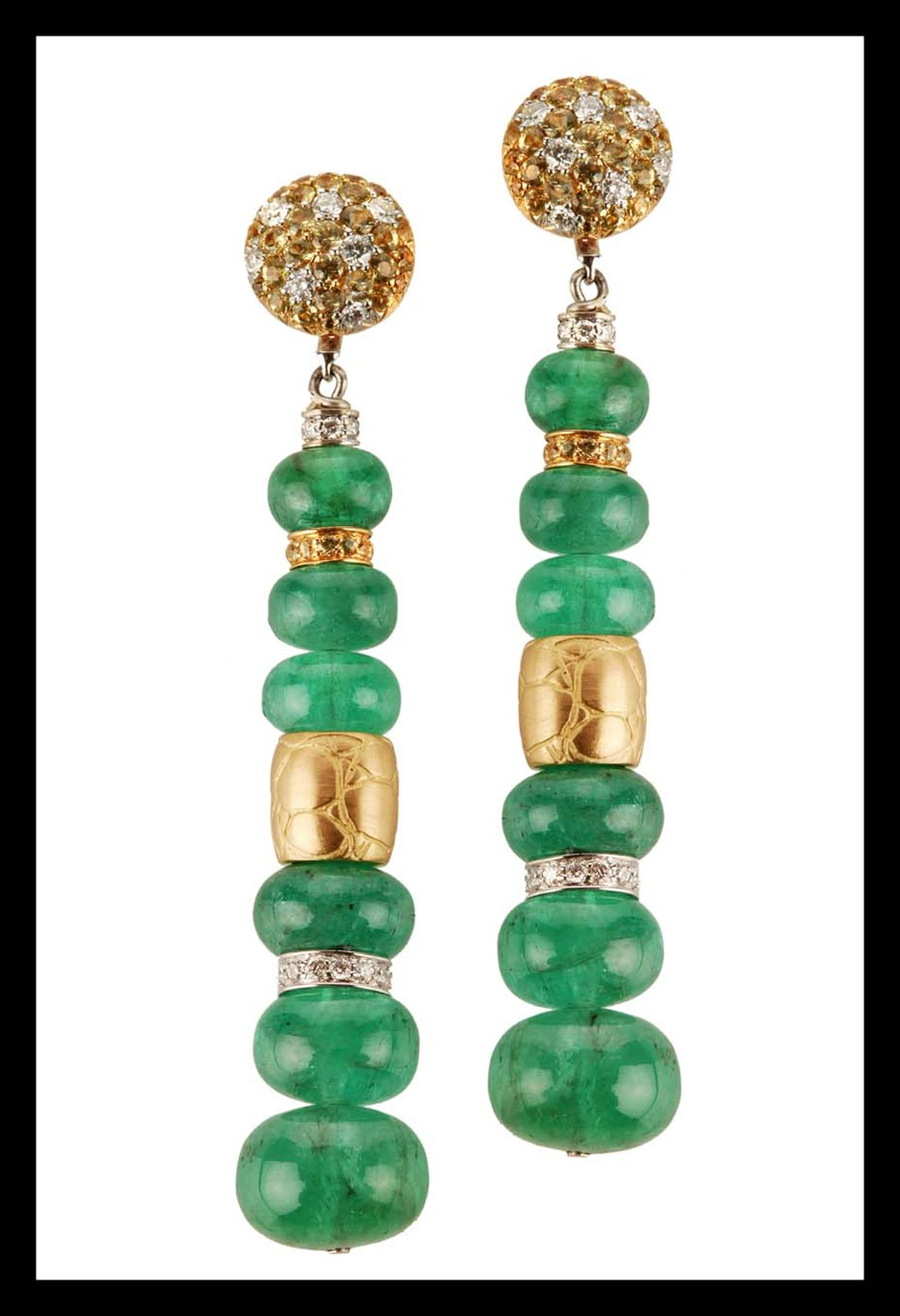Elena C one-of-a-kind long emerald earrings with mini gold coconut textured barrels, yellow sapphires and diamonds (9,900€).