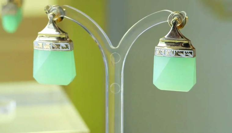 Jade Jagger Never Ending jewellery collection chrysoprase earrings. Available at 1stdibs.com.