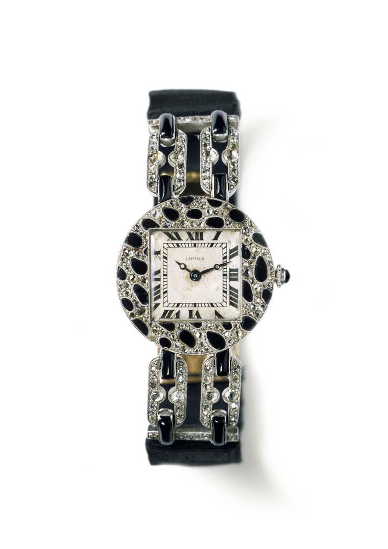 Cartier's 1914 wristwatch with a motif of panther spots, featuring a round case in polished platinum, pavéd with rose-cut diamonds and onyx.