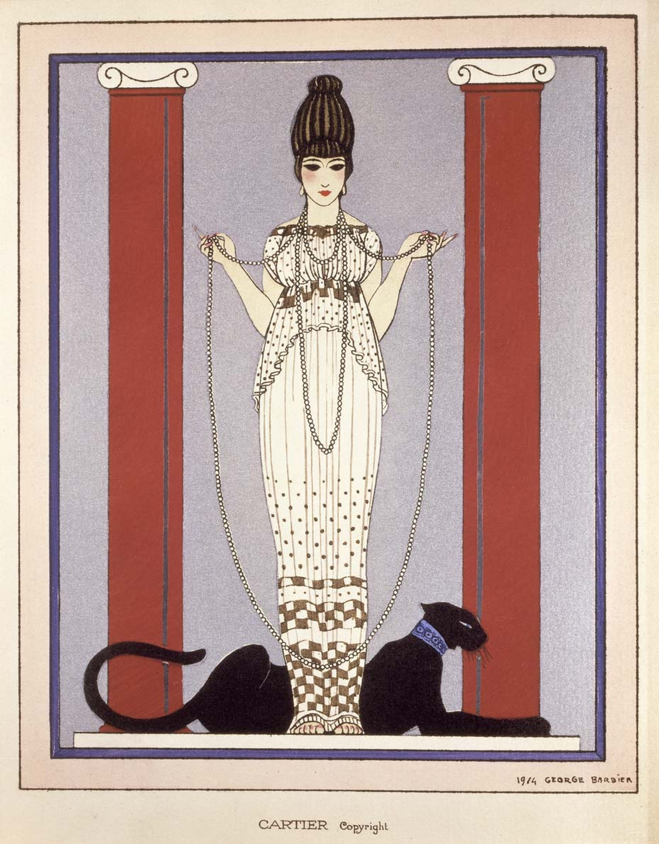 Cartier invitation card by Georges Barbier. The design was later used for advertising in the 1920s and depicts a woman in a Poiret gown with a black panther at her feet.