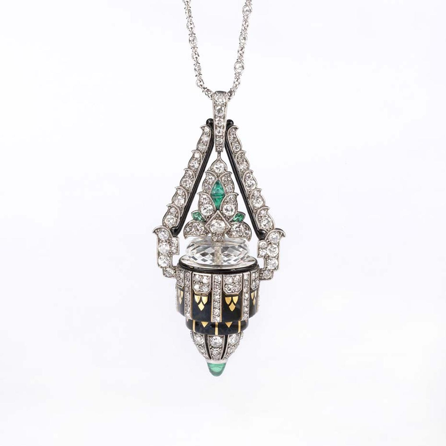 Morelle Davidson's Boucheron pendant watch, which dates back to the 1920s, with its bombé shape set with diamonds and emeralds, is typical of Art Deco design. The dial is signed Boucheron Brevete.