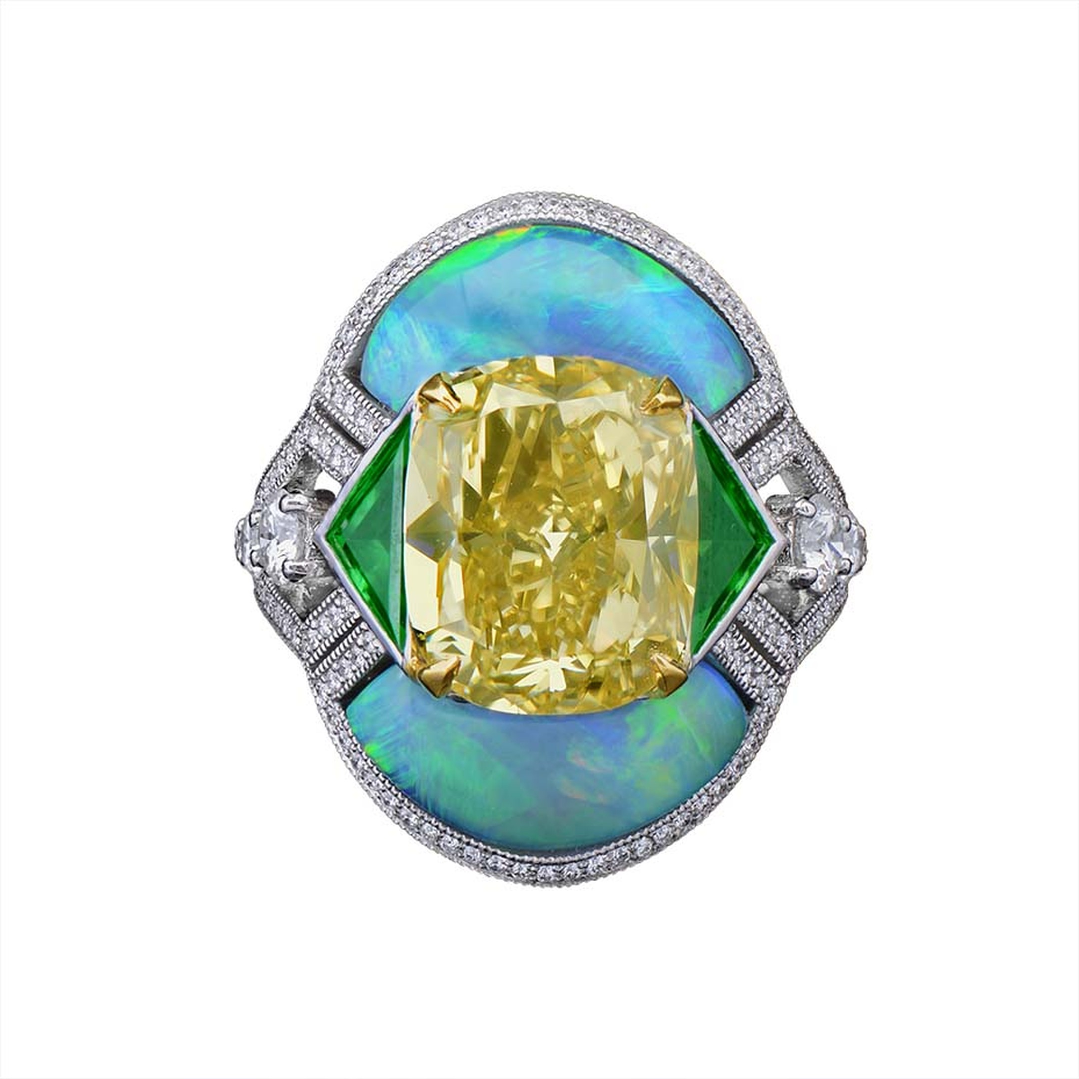 Morelle Davidson's Art Deco ring features a fancy intense yellow diamond surrounded by green triangular-cut tsavorite garnets and shimmering opals.
