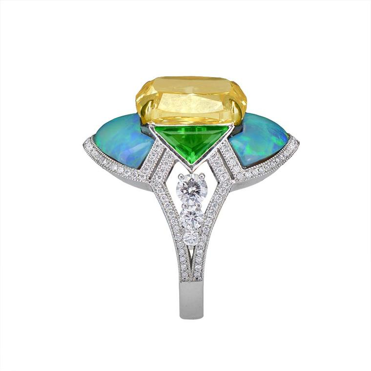 "David Abramov, Morelle Davidson's Sales Executive and Website Manager, says of its yellow diamond ring: ""As a jeweller that primarily works with antique and period jewellery, we were able to create a modern interpretation of the Art Deco period and make i"