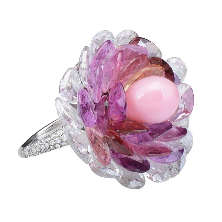 Morelle Davidson's one-of-a-kind platinum ring features a rare conch pearl surrounded by pink sapphire and rose-cut diamond petals.