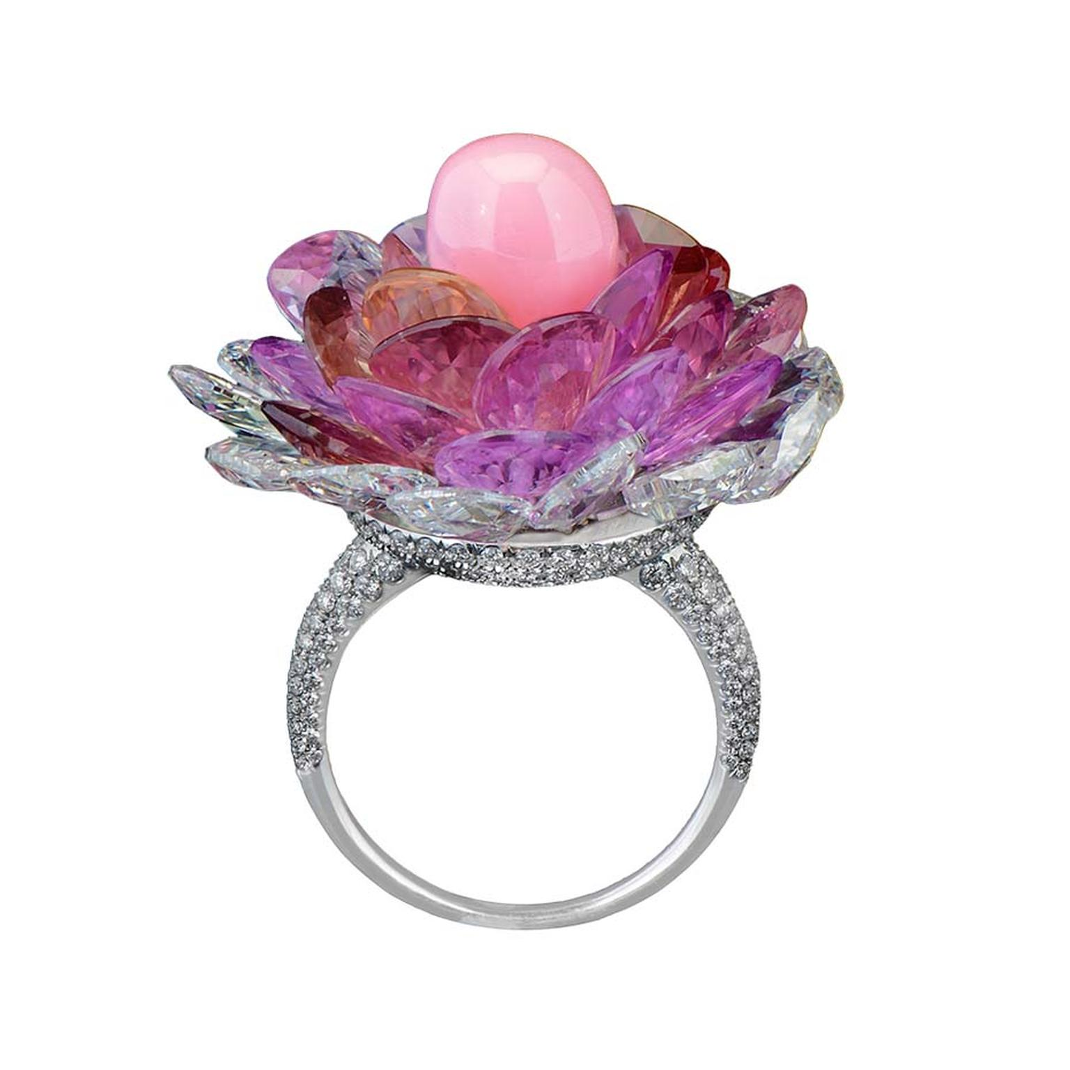 The setting of Morelle Davidson's new ring allows the petals to move with the motion of the wearer, just as a real flower would.