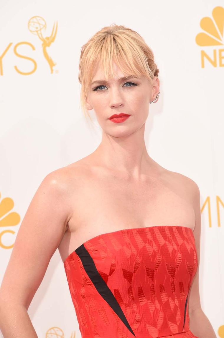 Mad Men actress January Jones chose a Jack Vartanian diamond ear climber for the 2014 Emmy Awards.