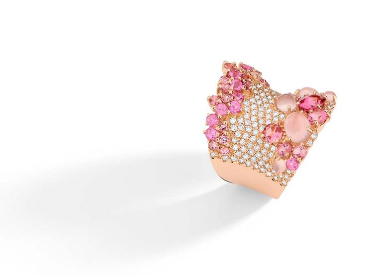 Brumani's Baobab collection rose quartz and pink tourmaline ring, as worn by Modern Family's Sarah Hyland to the 2014 Emmy Awards.