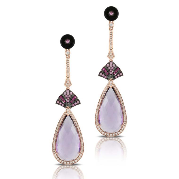 Doron Paloma's amethyst and mother-of-pearl Dove earrings, as worn by Halle Berry to the 66th Annual Emmy Awards.