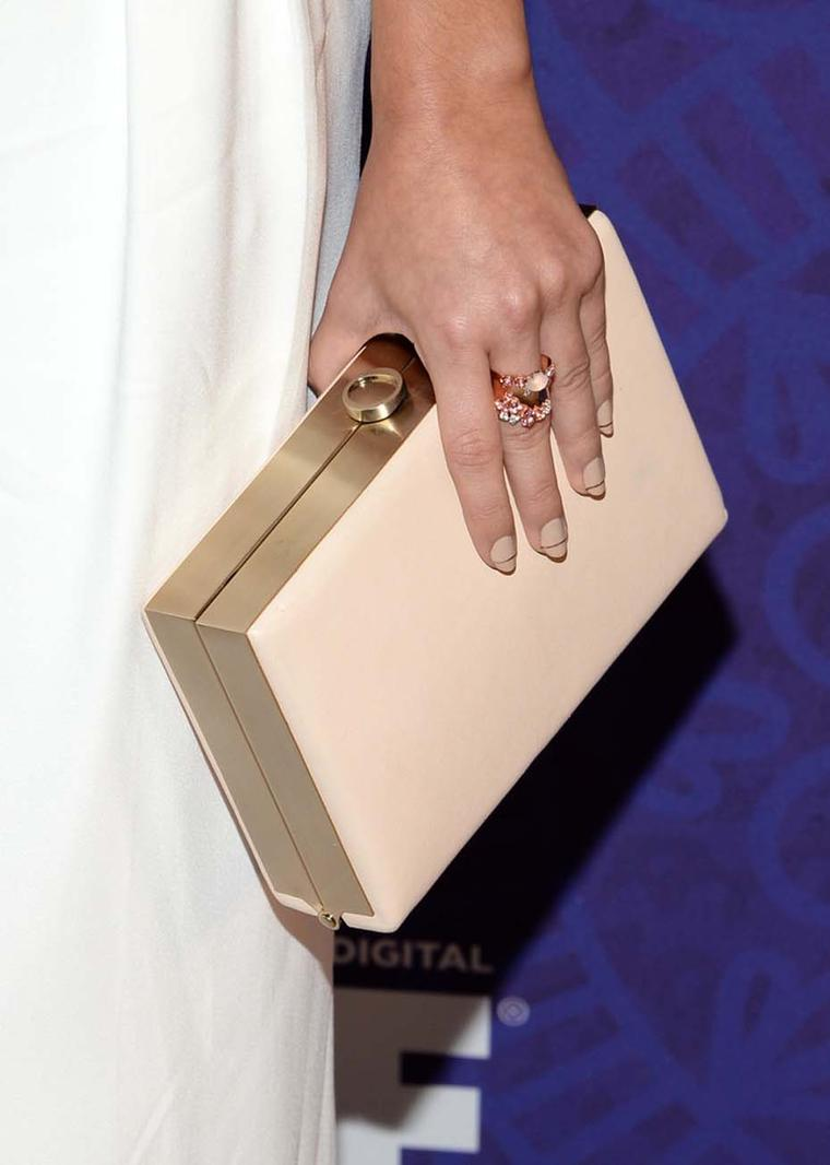 Brumani's rose quartz and pink tourmaline ring, as worn by Sarah Hyland during the 66th Annual Emmy Awards.