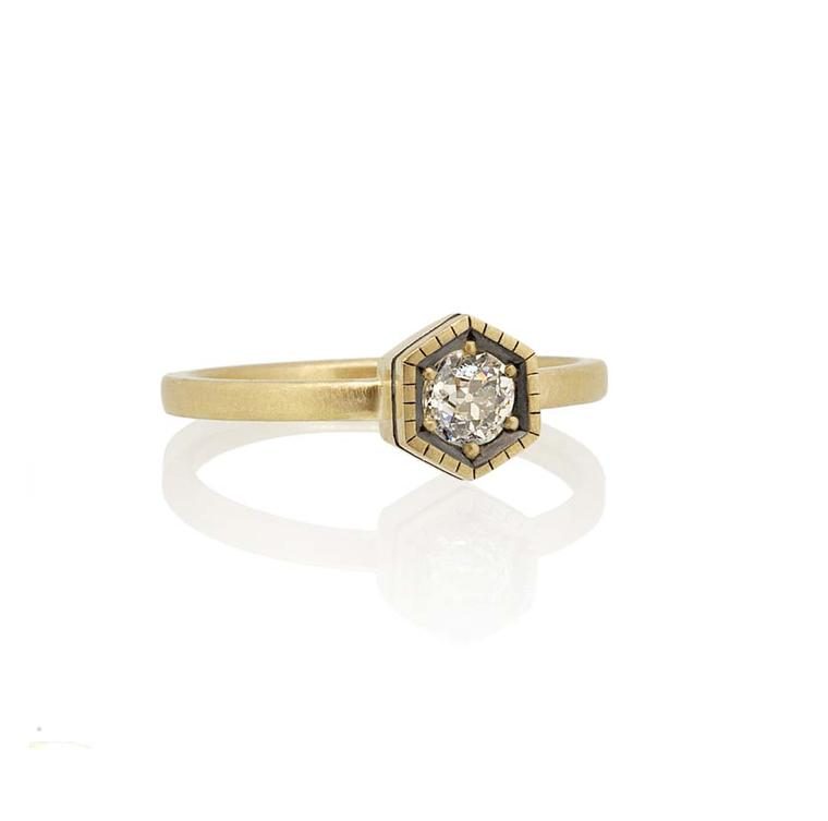 Amanda Li Hope's Hexagon ring, created using a diamond from the client's grandmother's brooch.