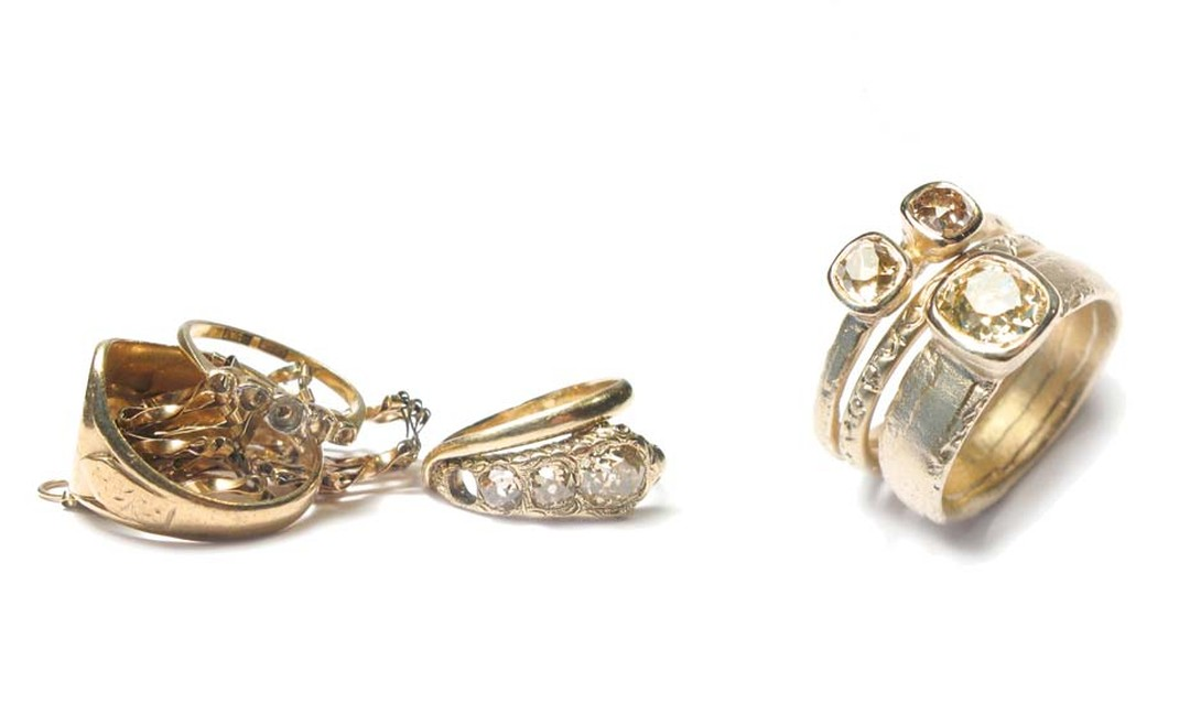 Before and after images of jeweller Diana Porter's bespoke commission from one client using recycled gold and diamonds.