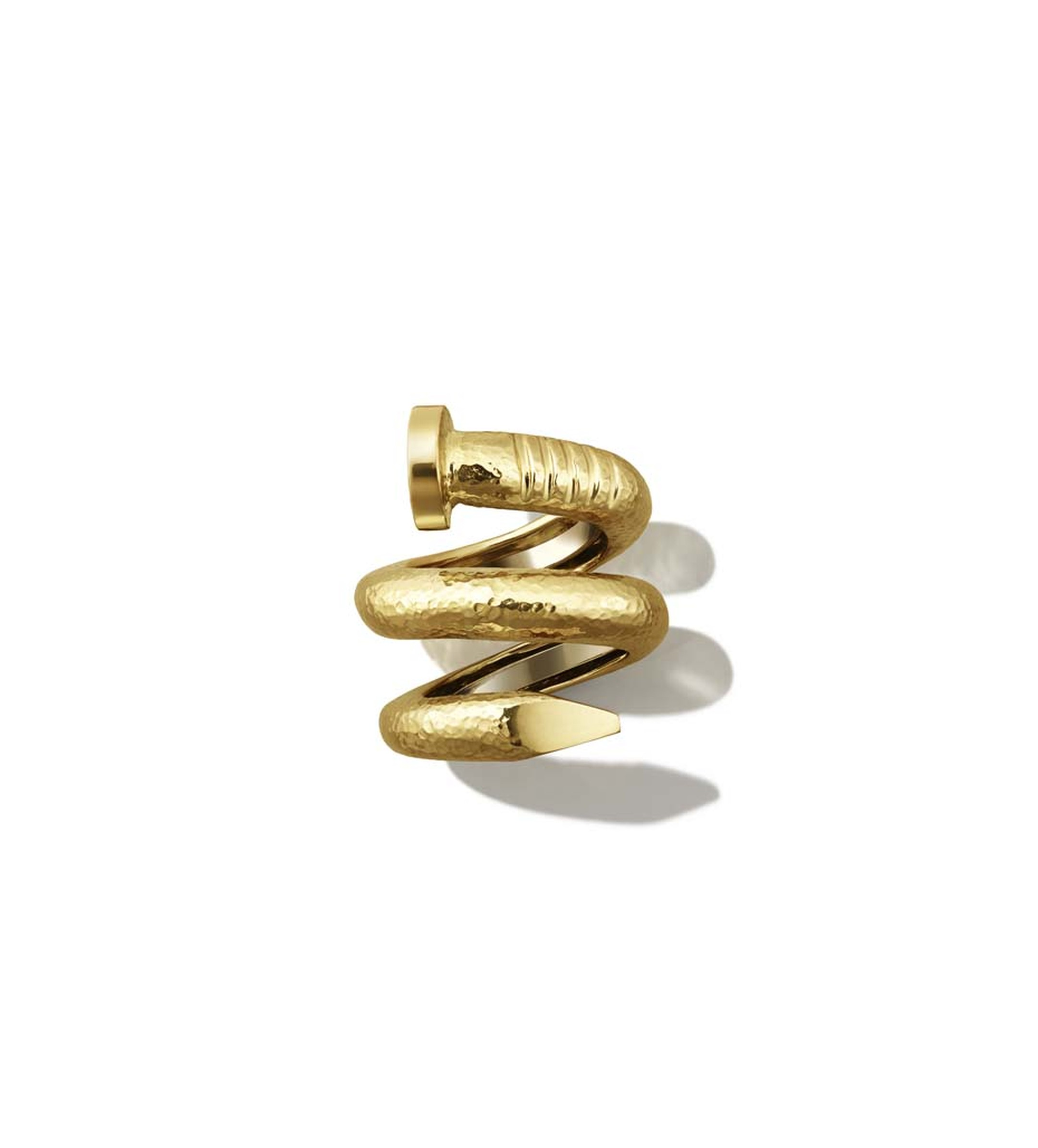 David Webb Tool Chest Collection Nail ring in hammered gold ($2,950).