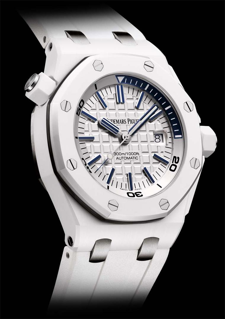 Audemars Piguet's all-white Offshore Diver watch, with a white ceramic case, white rubber strap and white 'waffle' dial.