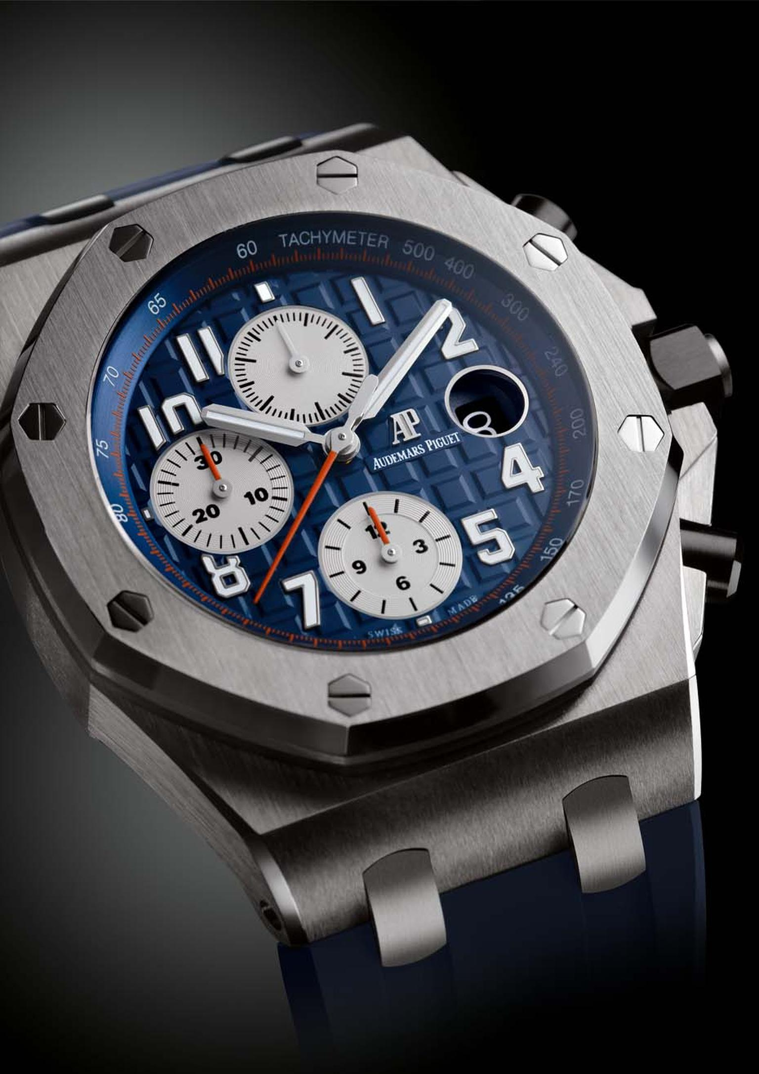 Audemars Piguet Royal Oak Offshore Chronograph watch featuring a steel case, blue dial with a 'Méga Tapisserie' pattern and blue rubber strap (£18,700).