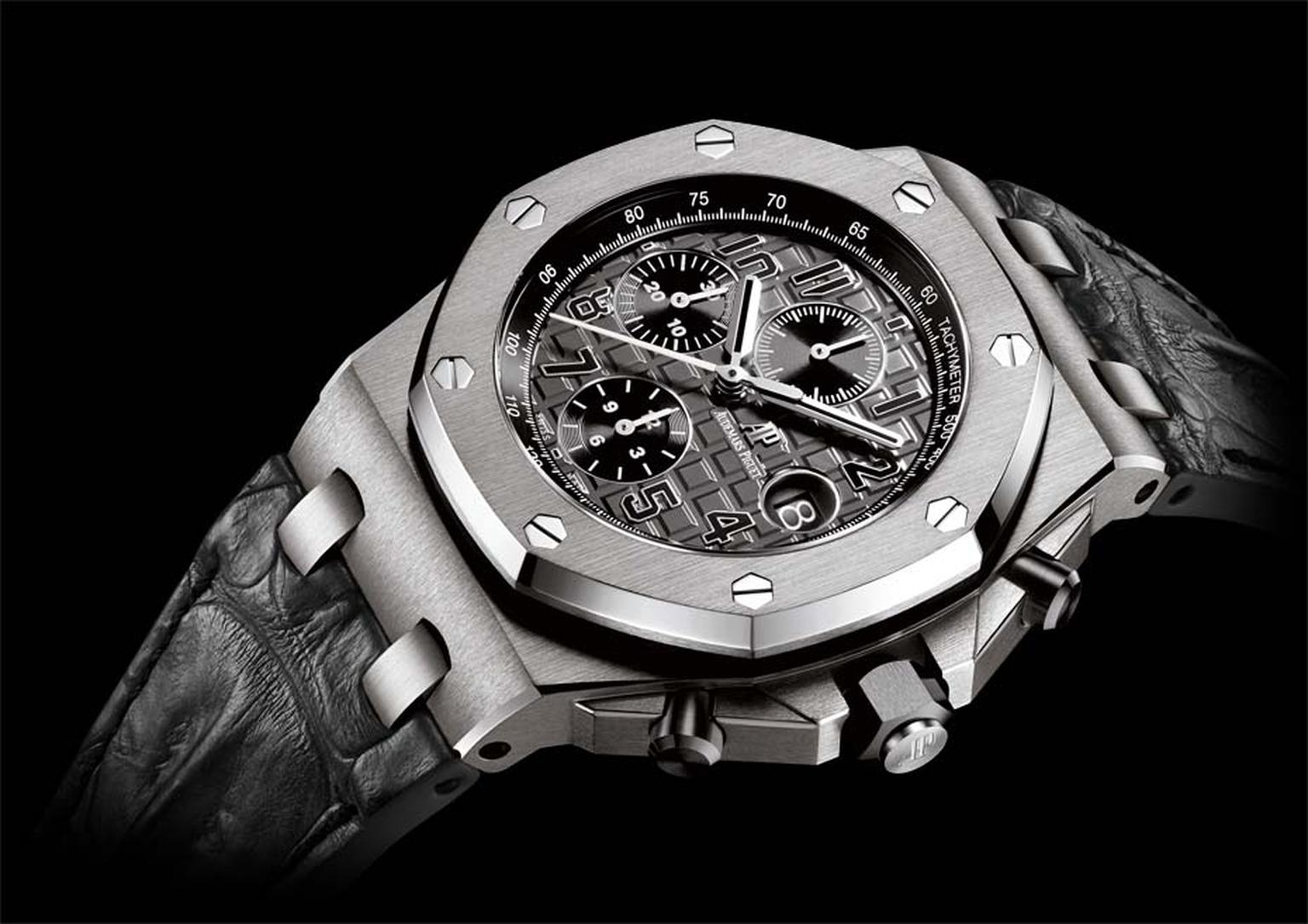 Audemars Piguet Royal Oak Offshore chronograph watch featuring a steel case, grey dial with a 'Méga Tapisserie' and grey alligator strap (£19,000).