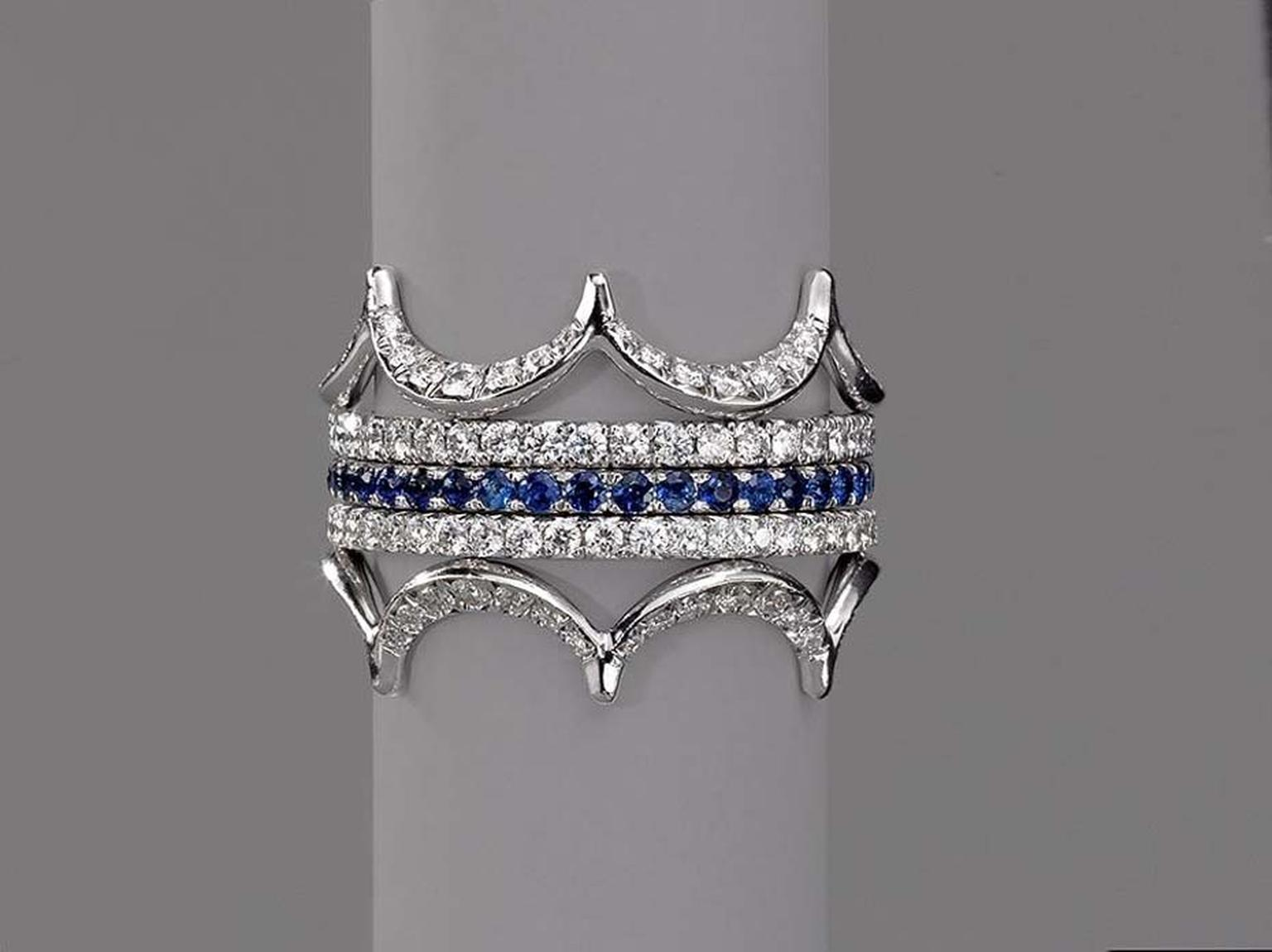 Jado's Crown rings were recently exhibited at Couture Fashion Week in New York. Pictured is the Jado Crown in white gold with diamonds and sapphires.