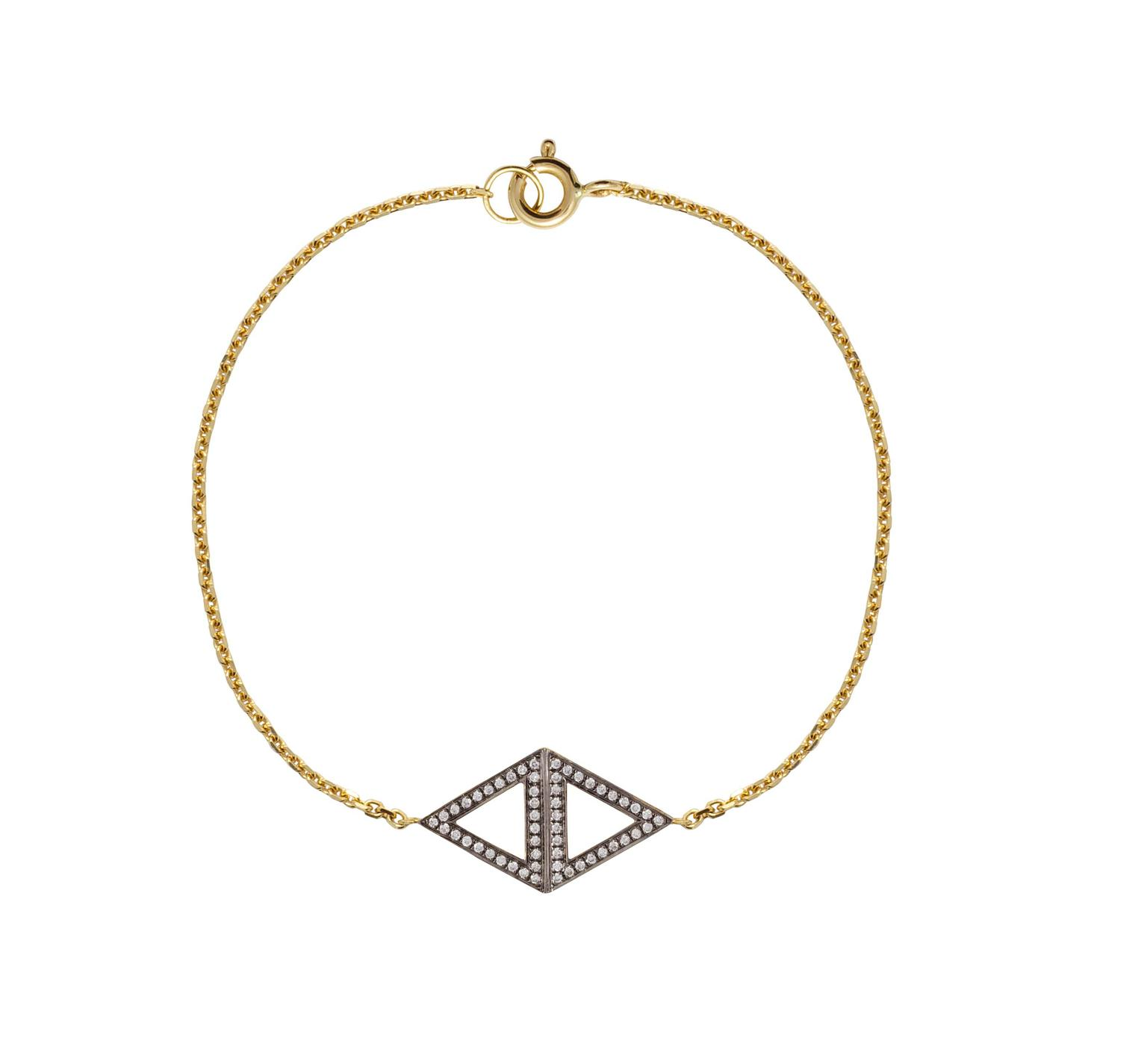 Noor Fares Rhombus bracelet in yellow gold with white diamonds.