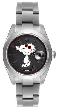 The Bamford Watch Department (BWD) and pop-art fashion brand Rodnik have collaborated on a limited-edition Snoopy watch. A customised Rolex Datejust model, the watch is available in either MGTC Black or MGTC Light Grey. Both versions feature a picture of