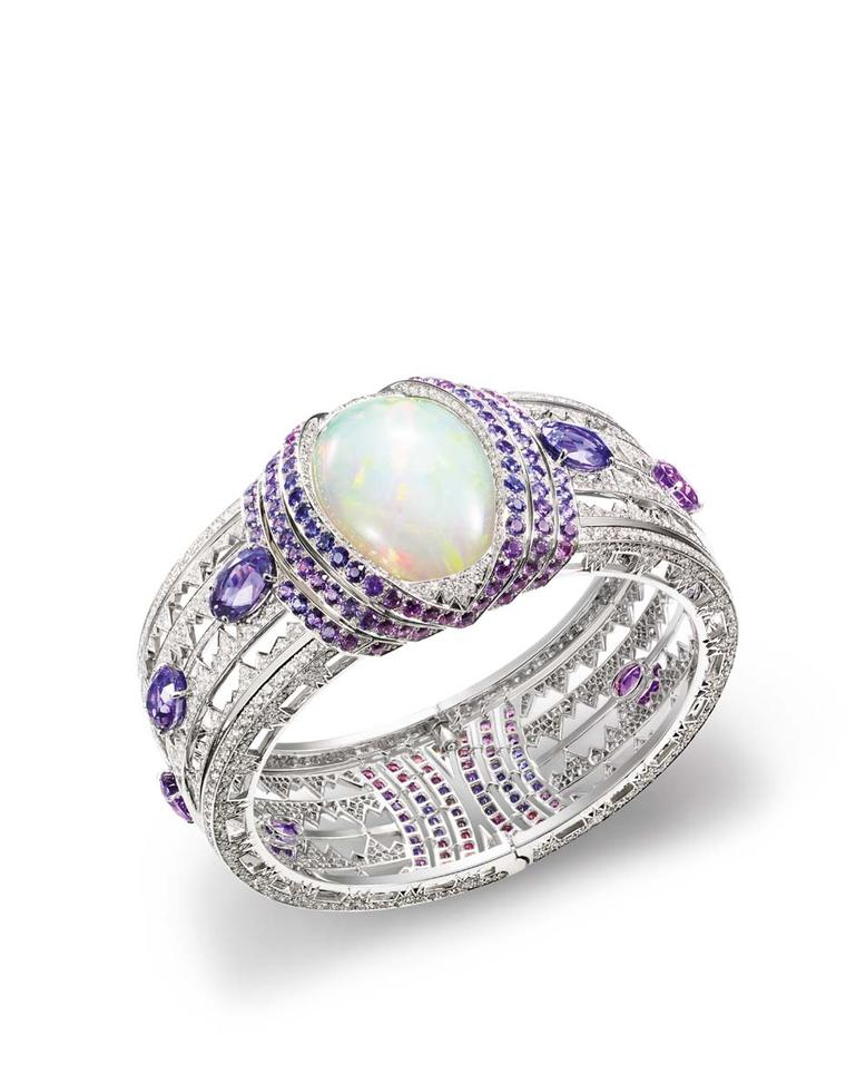 Chaumet's high jewellery bracelet, from the new Lumieres d'Eau high jewellery collection, created for the Paris Biennale, is set with a 39.05ct cabochon-cut white opal from Ethiopia, brilliant-cut diamonds, oval-cut violet sapphires from Ceylon and Madaga