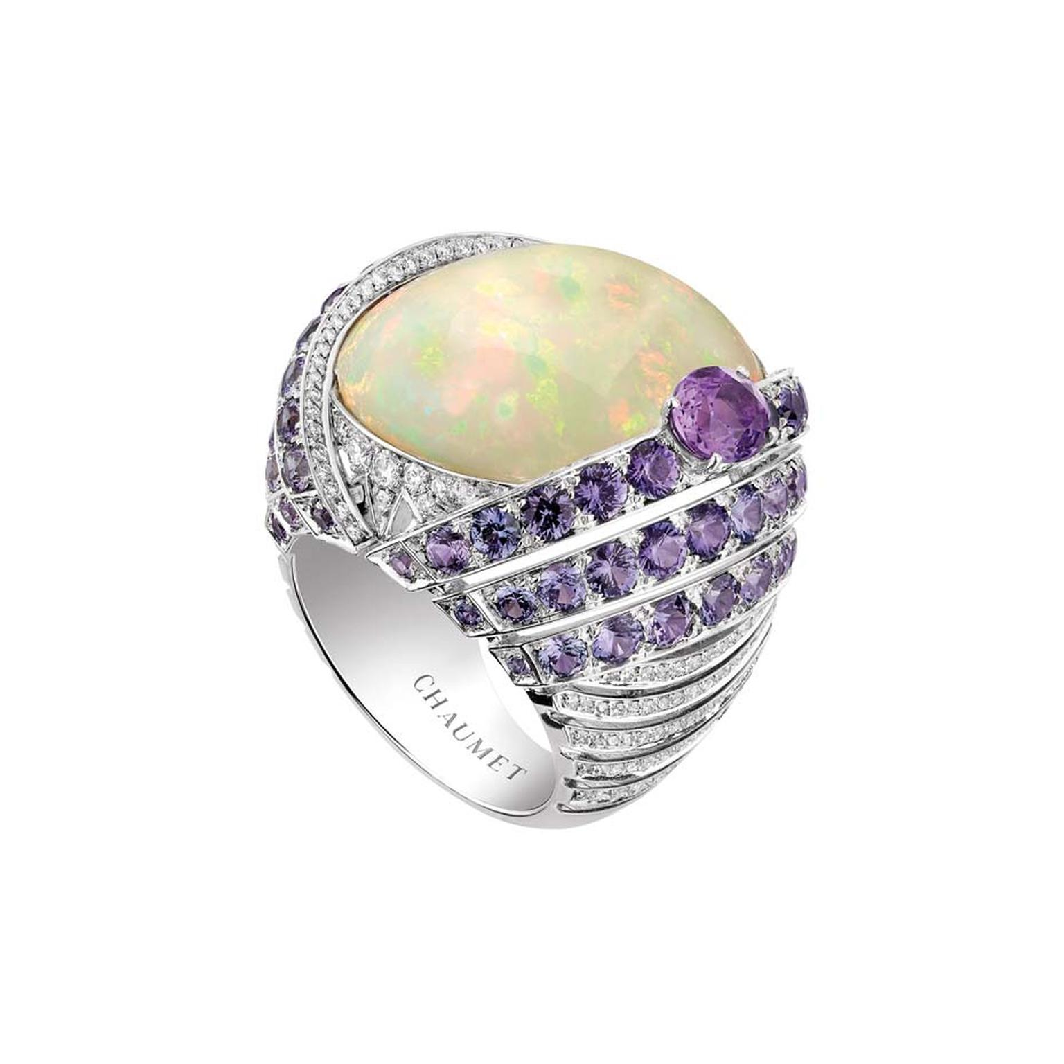 Chaumet Lumieres d'Eau high jewellery ring in white gold, set with a 18.58ct cabochon-cut white opal from Ethiopia, an oval-cut violet sapphire, round violet sapphires and brilliant-cut diamonds.
