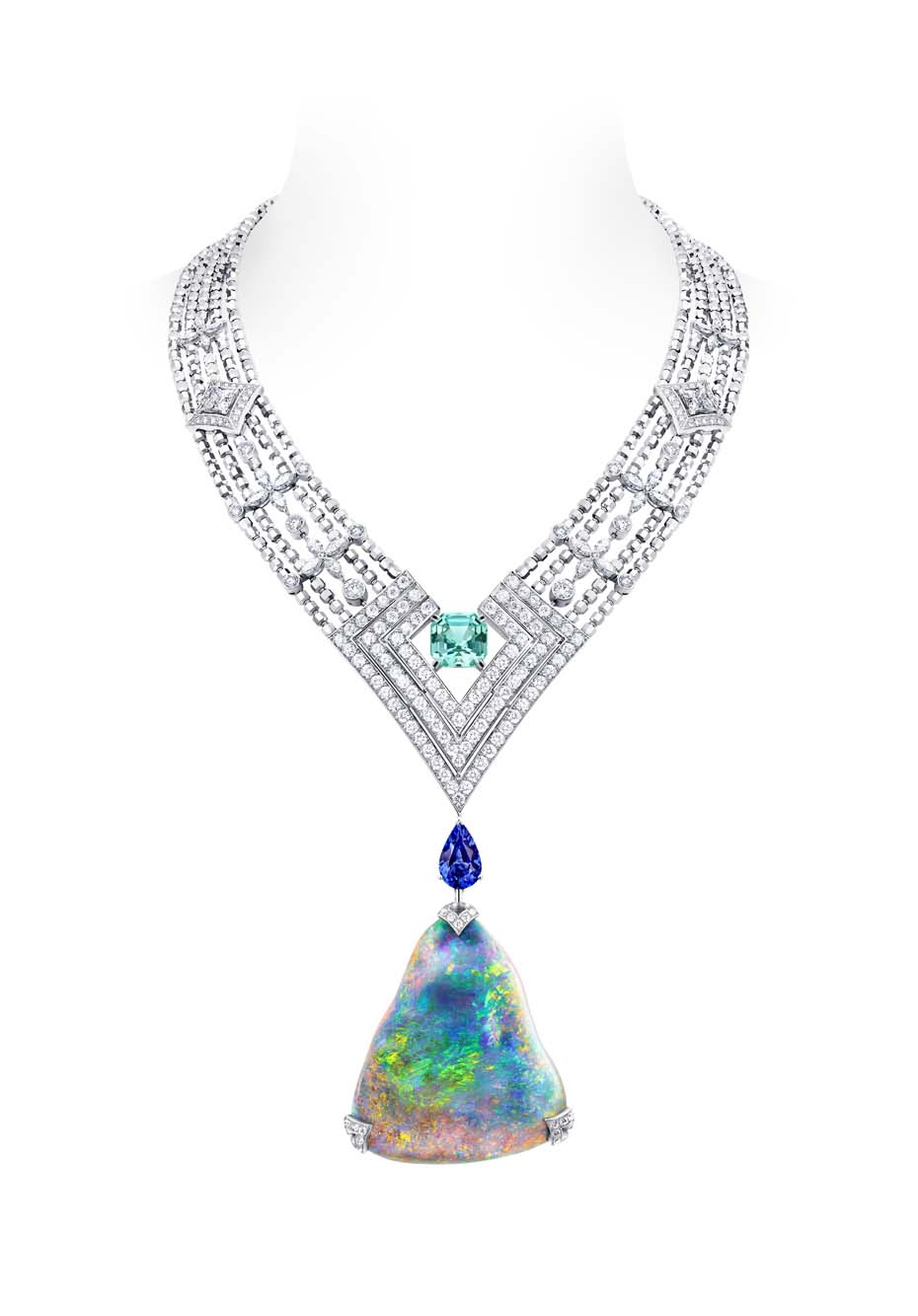 Louis Vuitton Acte V Genesis necklace featuring a 87.92ct Australian black opal and Vuitton's signature star-cut diamonds.