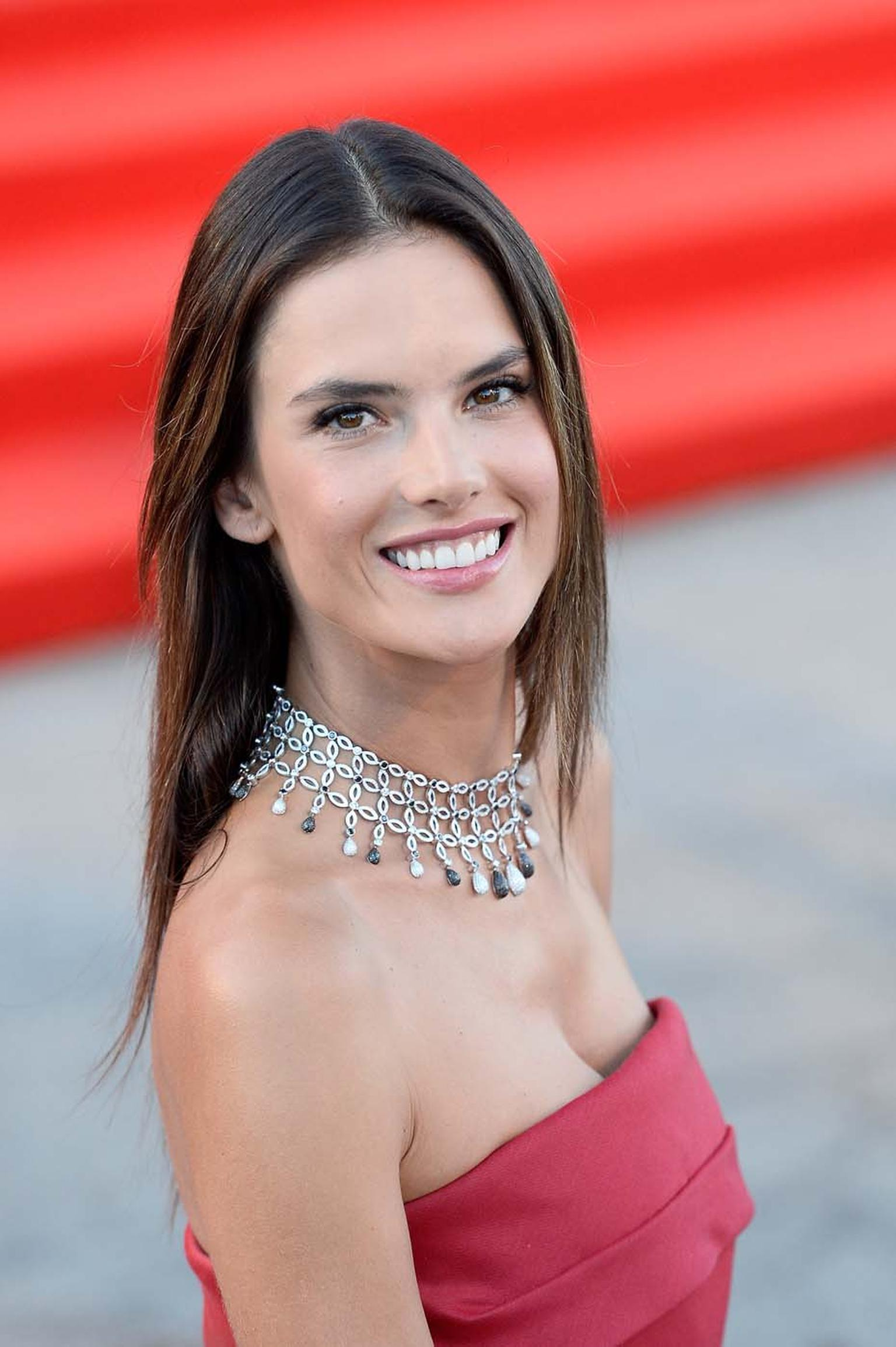 Brazilian supermodel Alessandra Ambrosio wore a white gold Chopard necklace set with 20ct of diamonds and 12ct of black diamonds from the Chopard High Jewellery Collection on day two of the Venice Film Festival.