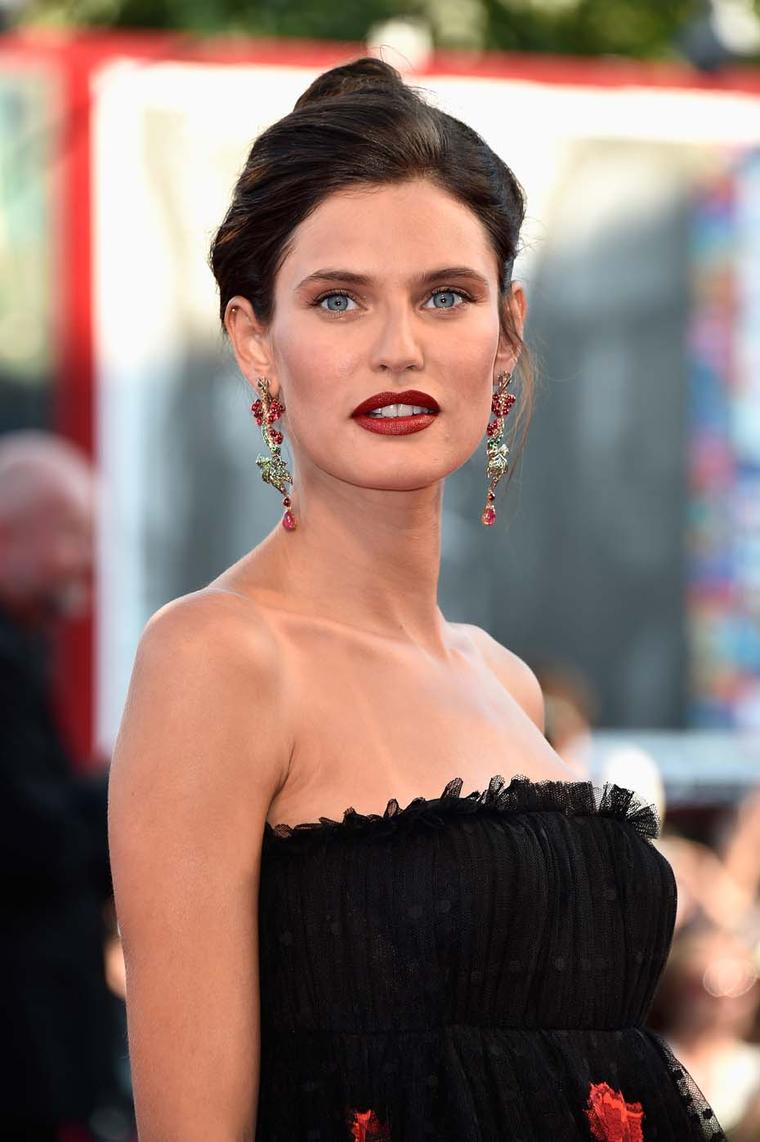 Italian model Bianca Balti wore a pair of Chopard Grape earrings from the Nature collection set with 19ct of cabochon spinels, 7ct of tsavorites and 3ct of coloured diamonds during the 71st Venice Film Festival.