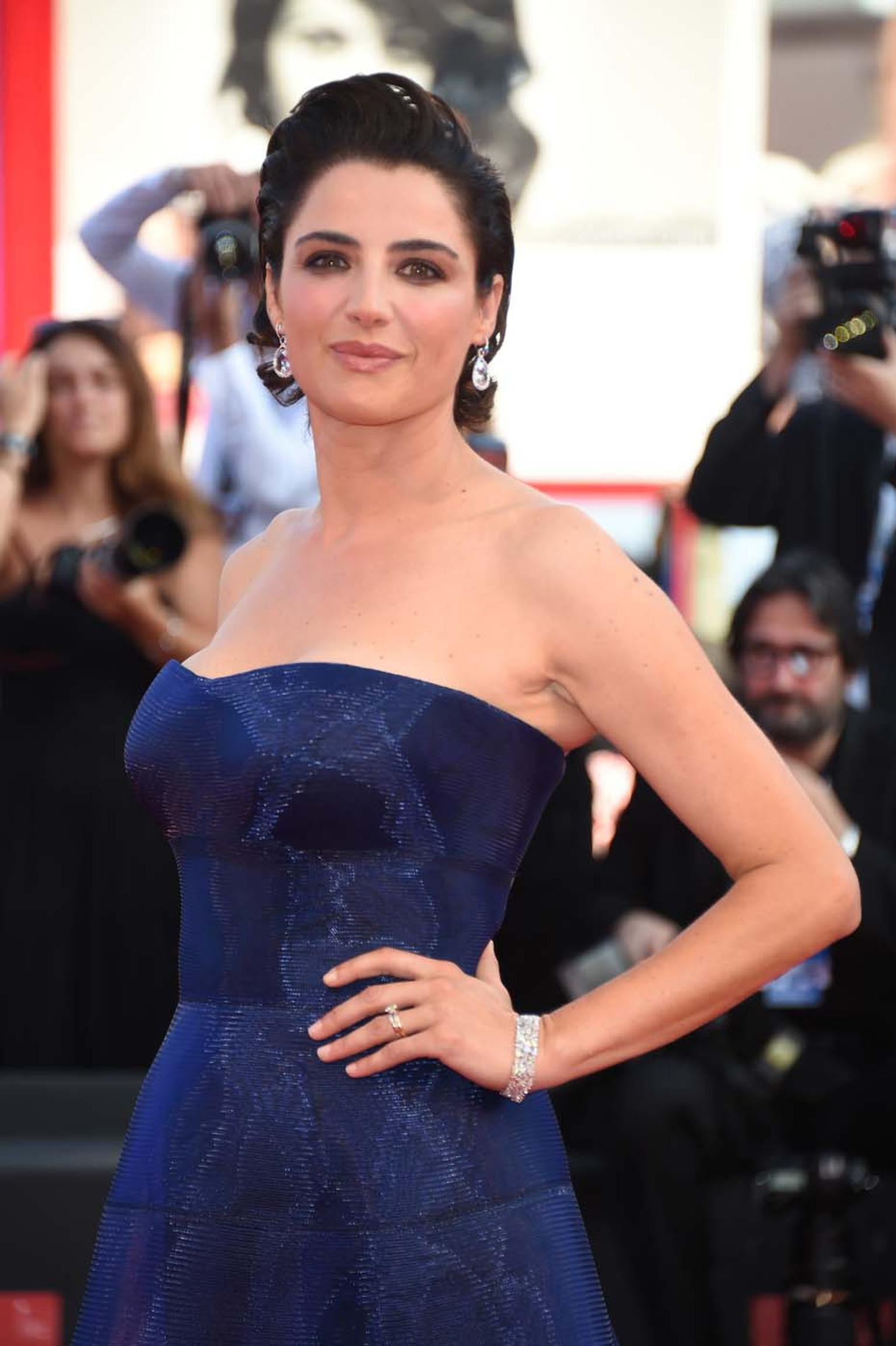 Italian actress and 'Godmother' of the Venice Film Festival Luisa Ranieri wore a pair of Chopard earrings set with 14ct of pear-shaped and brilliant-cut diamonds, a bracelet set with 36ct of fancy-cut diamonds and a diamond Chopard ring.