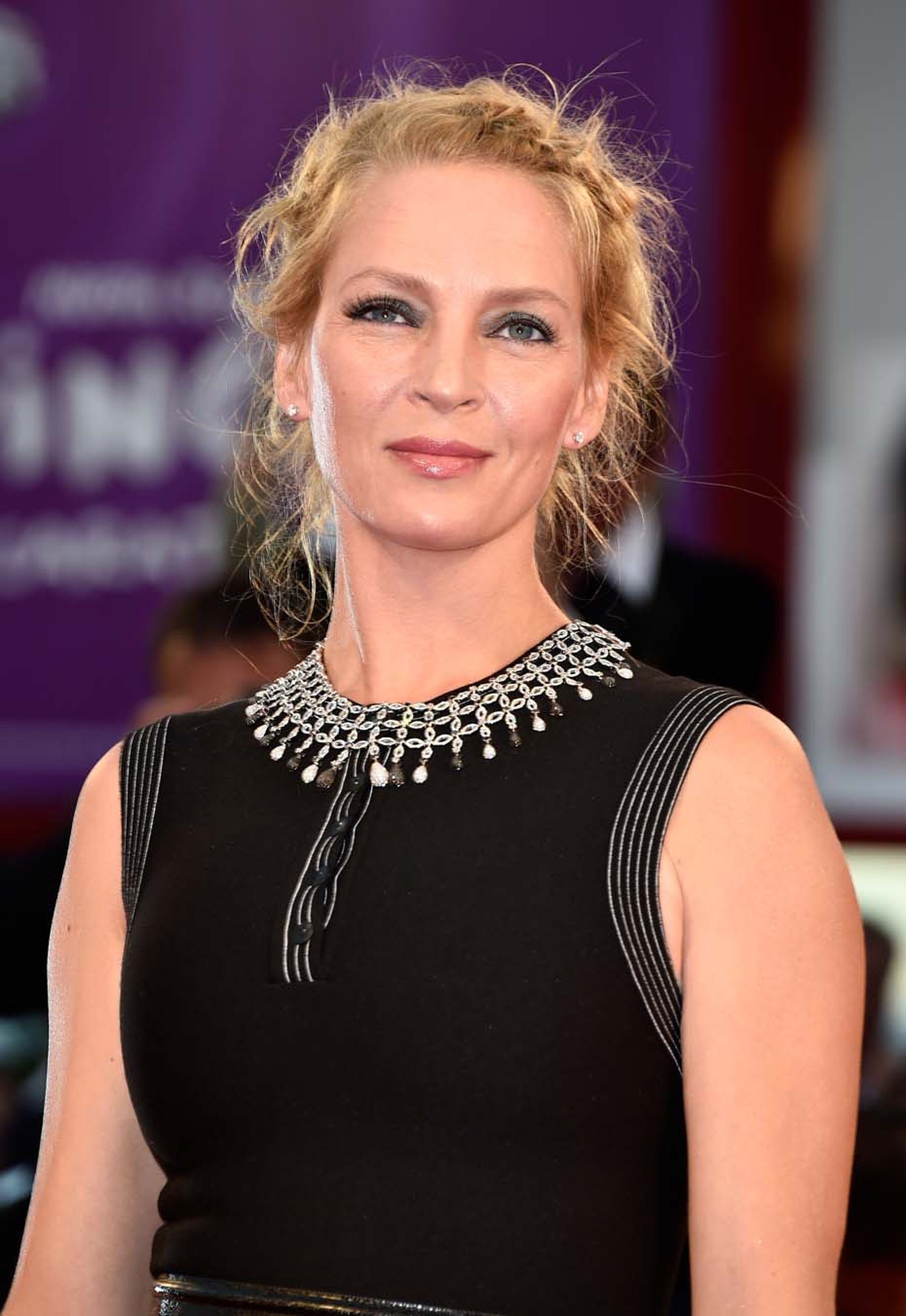 American actress Uma Thurman wore a pair of diamond stud earrings, a bracelet set with 36ct of fancy-cut diamonds, diamond earrings worn in her hair and a necklace from the Chopard High Jewellery Collection set with 12ct of black diamonds and 20ct of bril