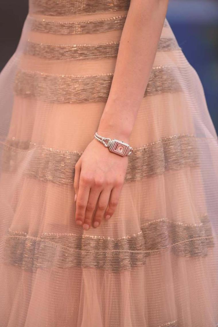 Actress Sarah Gadon wearing the Jaeger-LeCoultre Reverso Cordonnet watch.