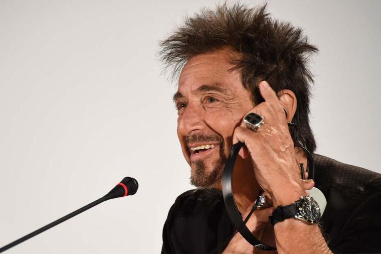 During the press conference to promote his films, The Humbling and Mangelhorn, Al Pacino was seen wearing a Jaeger-LeCoultre Deep Sea Vintage Chronograph watch.