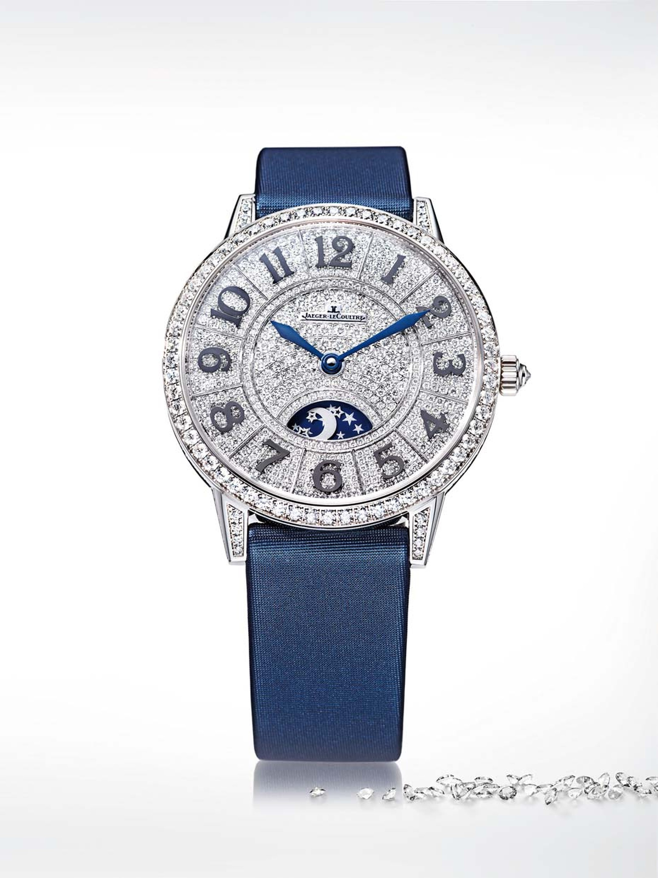 Jaeger-LeCoultre Rendez-Vous Night and Day watch with a bezel, case and lugs completely adorned in diamonds.