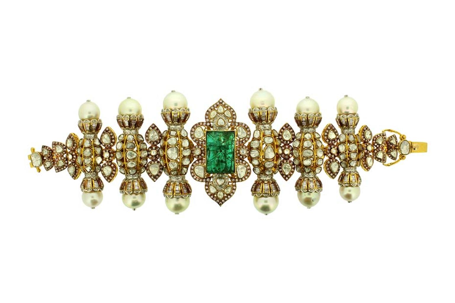 Inspired by Mughal architecture, Birdhichand Ghanshyamdas' Aks collection bracelet features an emerald tablet, pearls and uncut diamonds.