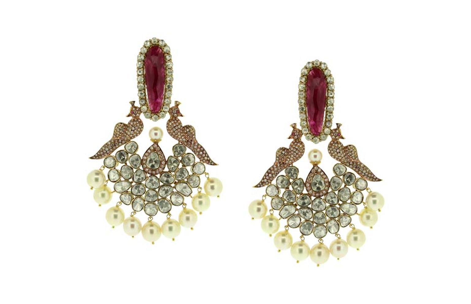 Birdhichand Ghanshyamdas Aks collection Peacock earrings.