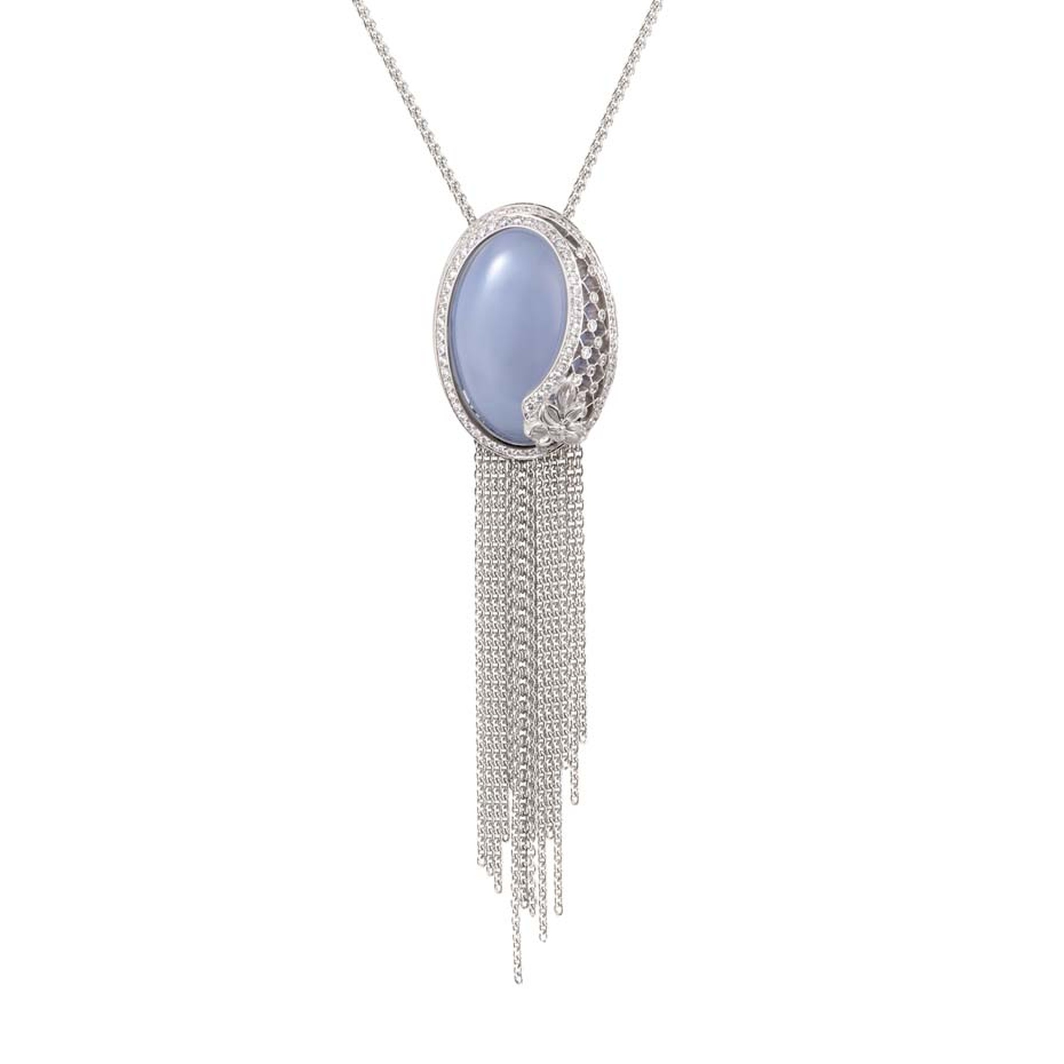 Carrera y Carrera Sierpes maxi necklace in white gold, chalcedony and diamonds.