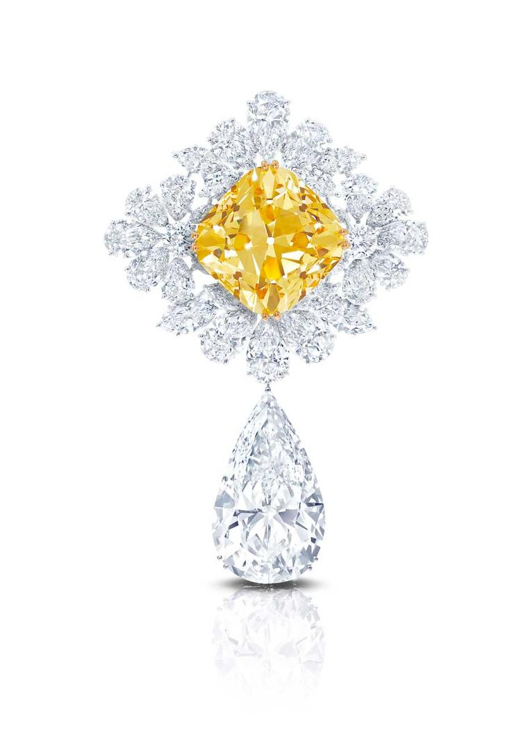 Graff's The Royal Star of Paris, named in honour of the Biennale des Antiquaires, stars the Graff Sunflower, a 107.46ct Fancy Yellow cushion-cut diamond, from which is suspended the the Graff Perfection, a 100ct D Flawless pear-shaped diamond drop.