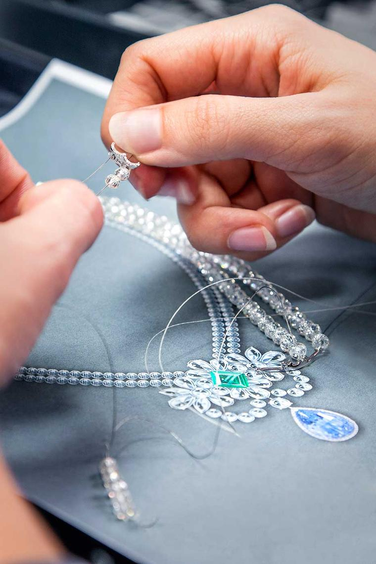 Faceted diamond beads are threaded to form the necklace of the Graff Le Collier Bleu de Reve, which will be on show for the first time at the 2014 Biennale de Paris this week.