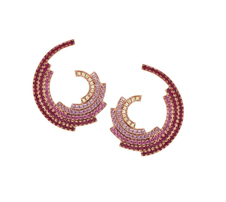 Ruifier rose gold Galaxy earrings with a curve of pink sapphires, yellow sapphires and rubies.