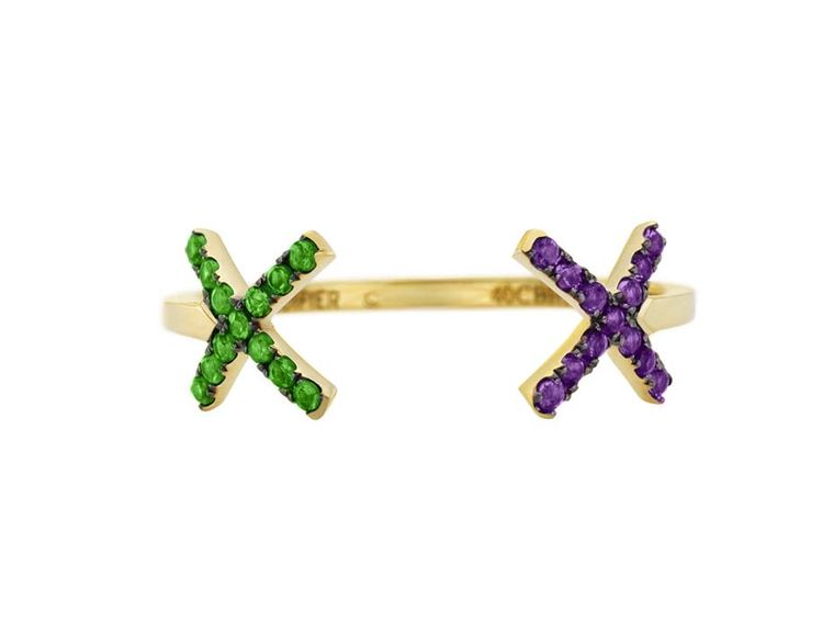 Ruifier gold Visage Cross ring with tsavorites and amethysts.