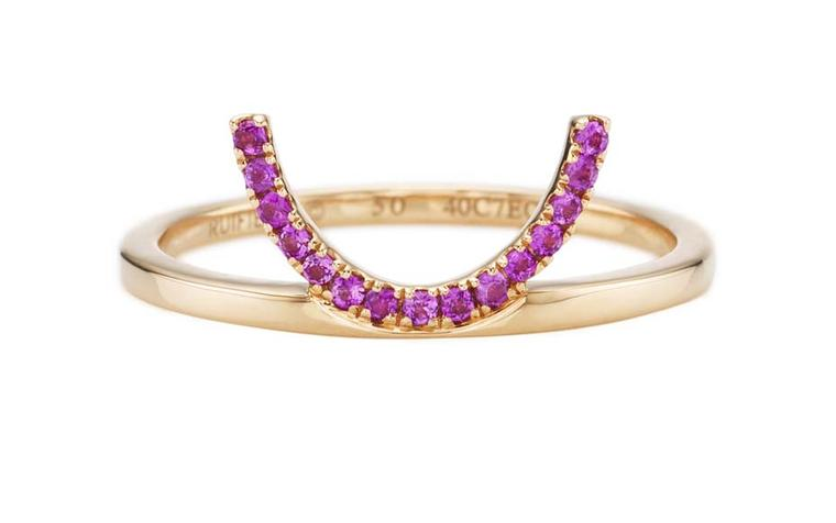 Ruifier rose gold Visage Crescent ring with pink sapphires.
