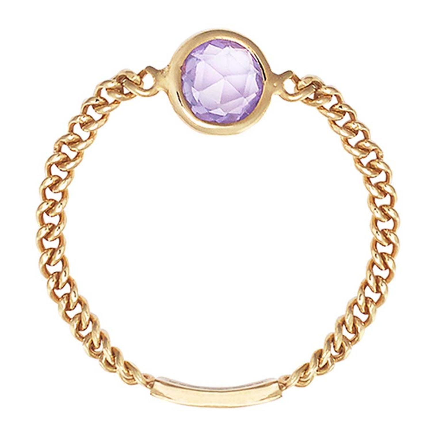 Sweet Pea rose-cut purple sapphire Chain ring in gold.