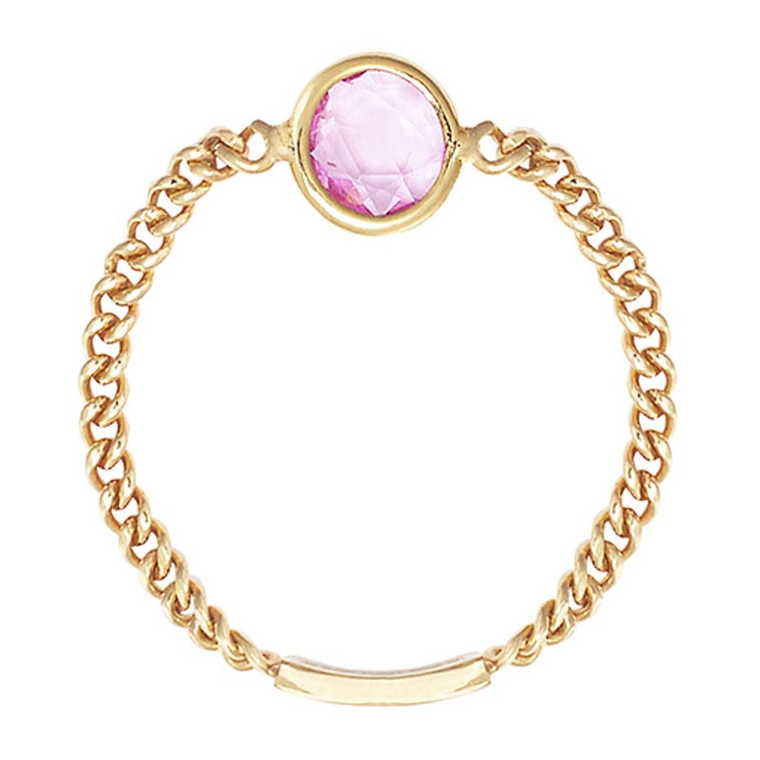 Sweet Pea rose-cut pink sapphire Chain ring in gold.