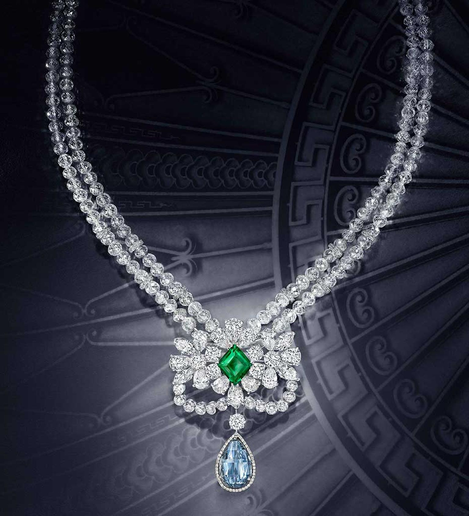 Graff's Le Collier Bleu de Reve necklace features a 10.47ct Fancy Vivid Blue Internally Flawless briolette diamond, above which sits a stunning 4.22 carat old-mine Colombian emerald. The necklace is composed of 192 faceted beaded diamonds.