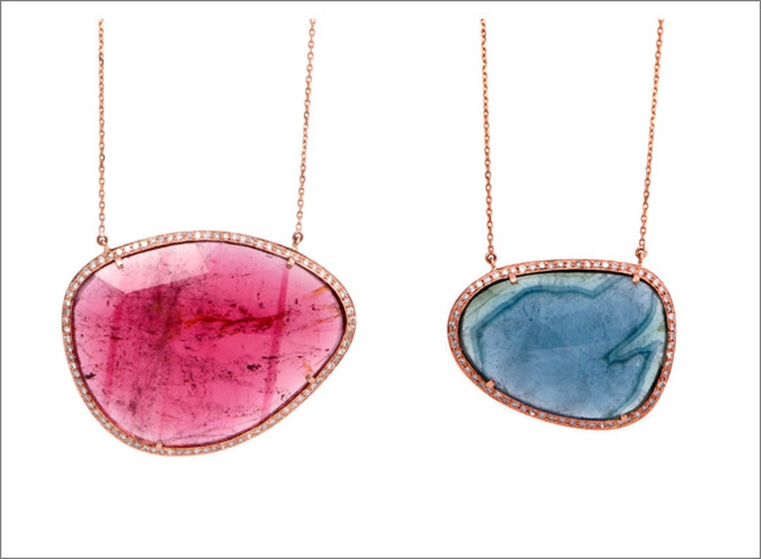 Celine D'Aoust Stella Necklaces with coloured tourmalines and diamonds.