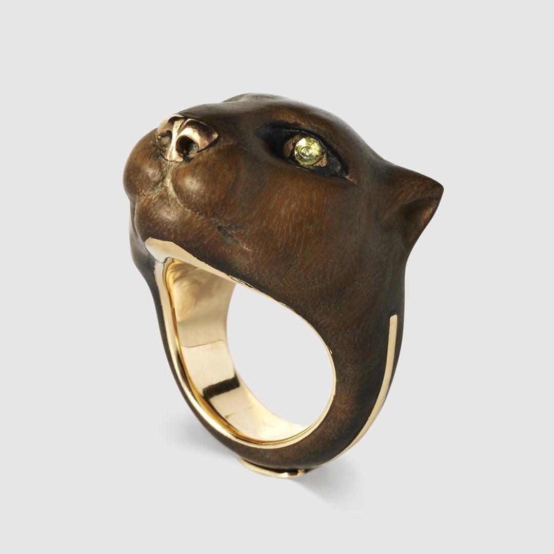 Harumi Klossowska de Rola wood and ebony Puma ring with two peridot eyes. Available exclusively from Dover Street Market.