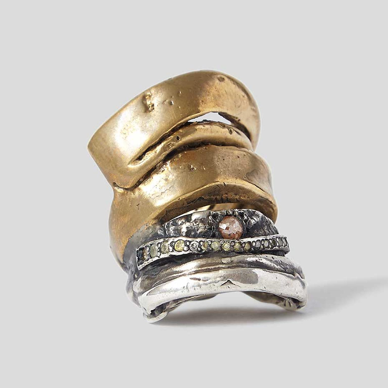Michelle Lamy and Loree Rodkin Hunrod ring in silver, brass and black rhodium, set with a rose-cut orange diamond and 20 multi-coloured diamonds. Available exclusively from Dover Street Market.
