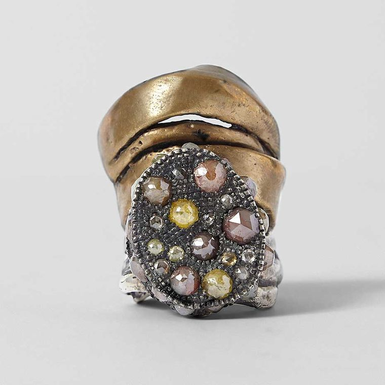 Michelle Lamy and Loree Rodkin Hunrod ring in silver, brass and black rhodium, set with multi-coloured diamonds. Available exclusively from Dover Street Market.