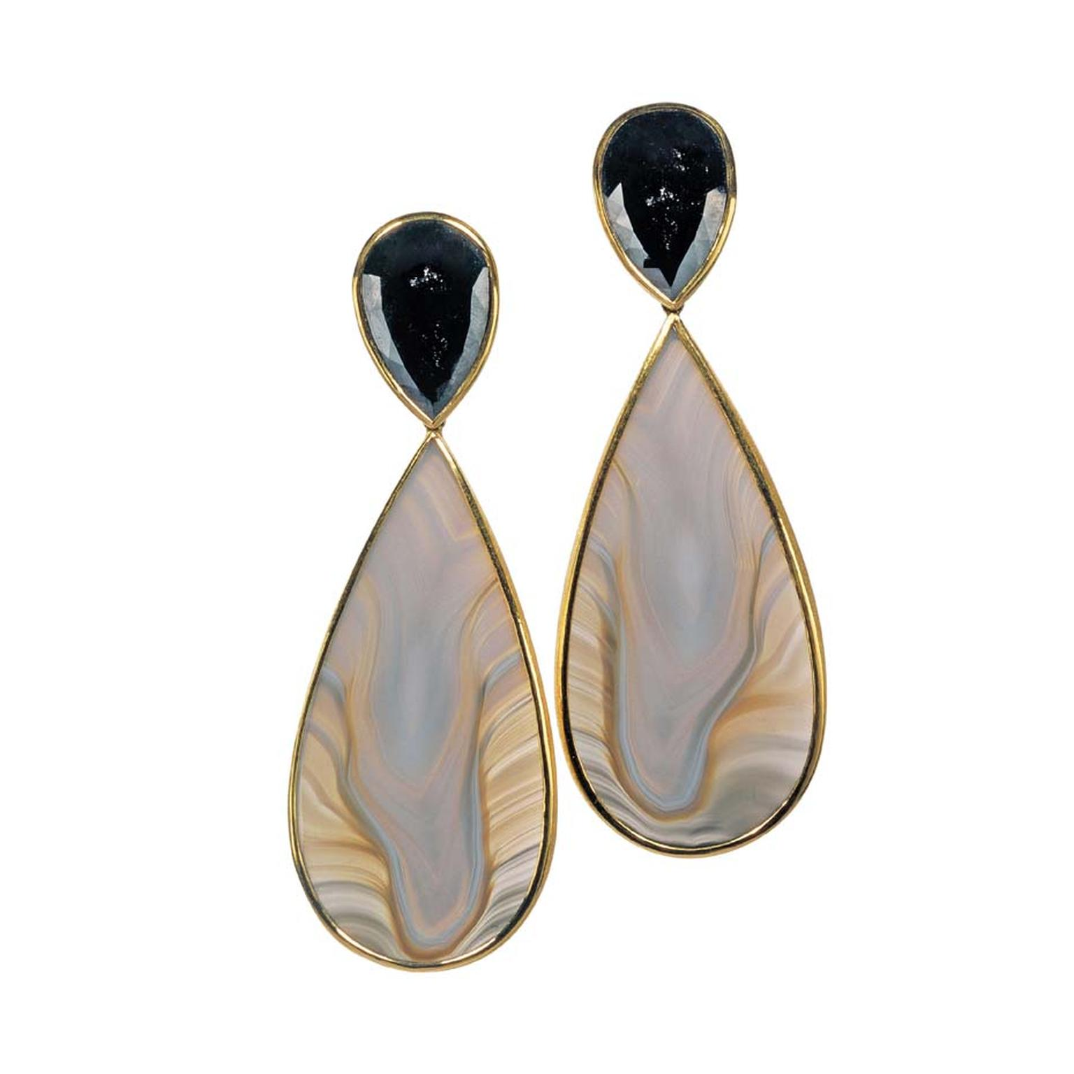Zobel by Peter Schmid Agate earrings featuring black diamonds set in gold.