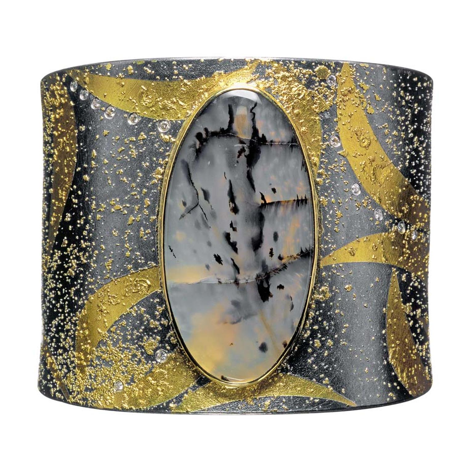Atelier Zobel by Peter Schmid agate cuff in gold and silver with champagne diamonds.